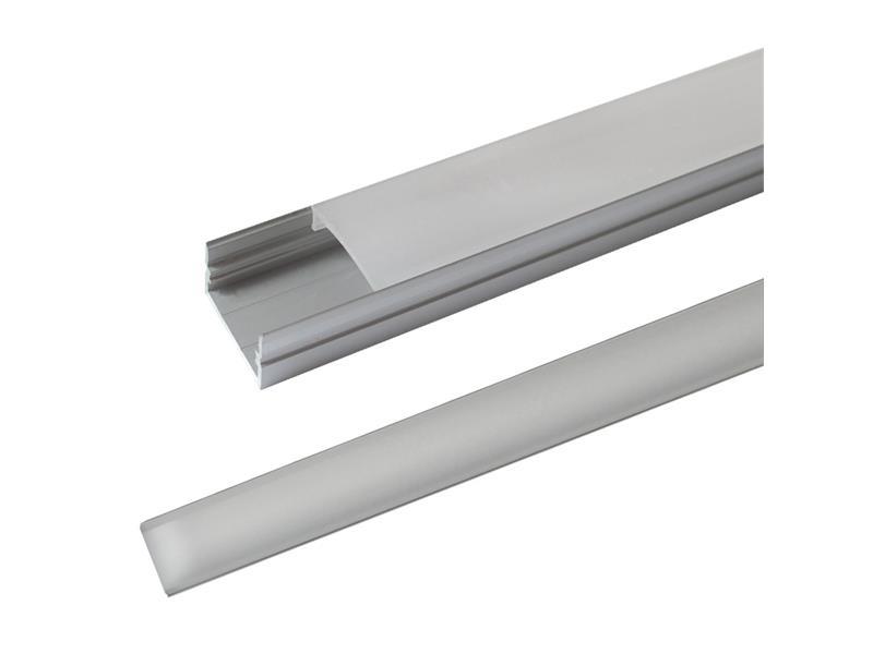 AL profil pro LED, AS3 + plexi k přisazení pro více pásku 23,5x11mm l=2m (zacvakávací/zasunovací)