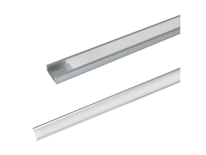 AL profil AS5 pro LED pásky, k přisazení, s plexi, 1m