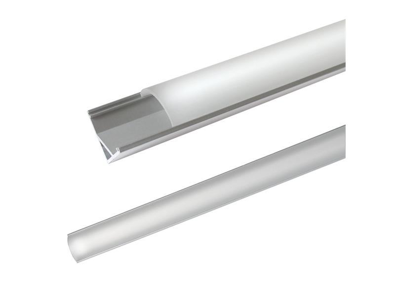 AL profil pro LED, AC2 + plexi rohová 16x16mm l=2m (zacvakávací/zasunovací)