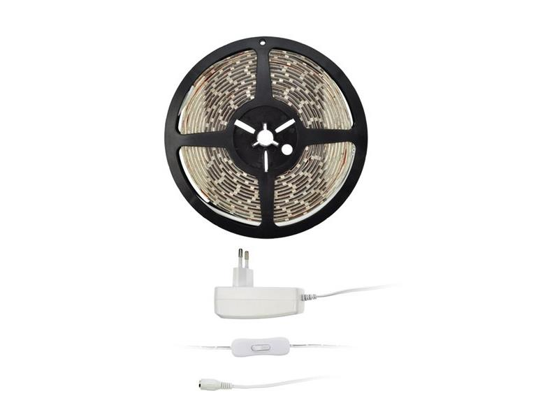 LED světelný pás s testrem, 5m, sada s 12V adaptérem, 4,8W/m, IP20, studená bílá
