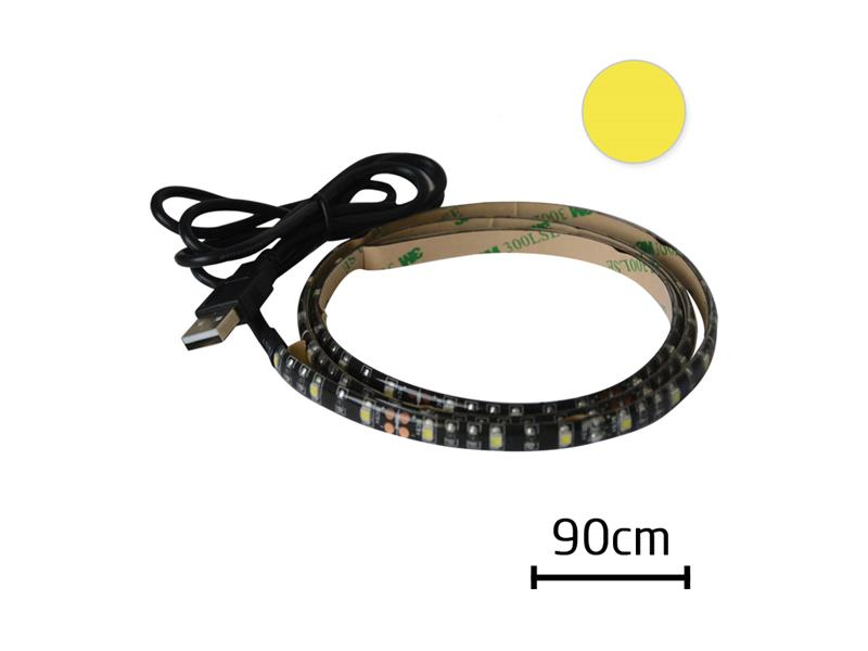 LED pásek s USB, 90 cm, bílá teplá