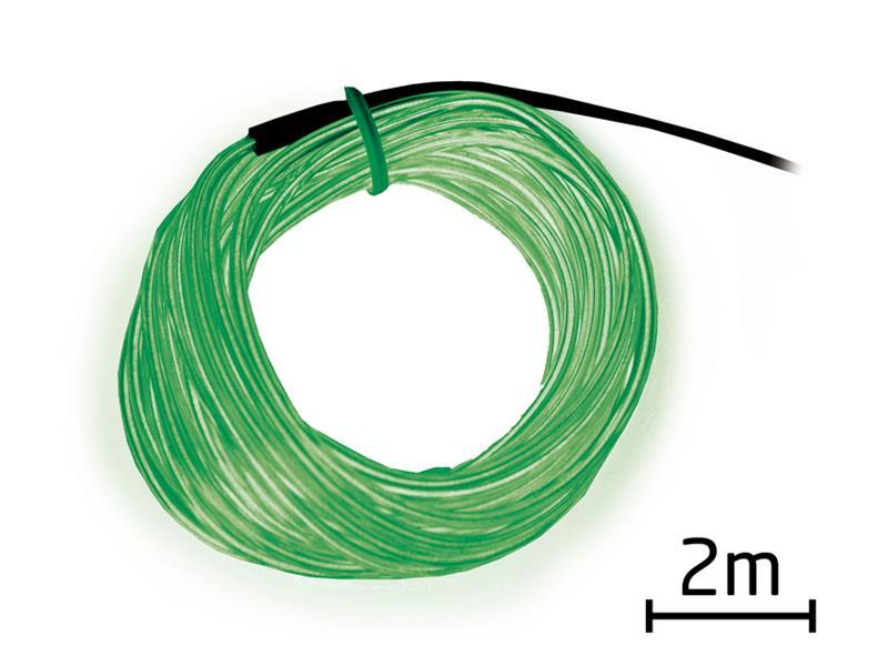 Svítící kabel - drát, 2m, zelený