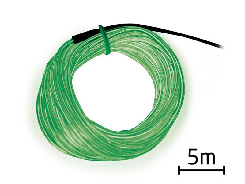 Kabel EL svítící 5m zelený