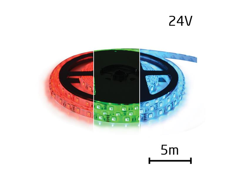 TIPA LED pásek 24V 5050 60LED/m IP65 max. 12W/m RGB 5 m zalitý