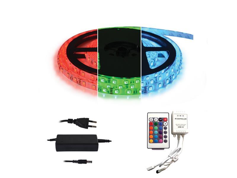 TIPA LED pásek typ 12V 5050 60LED/m IP65 s adaptérem a dálk. ovladačem
