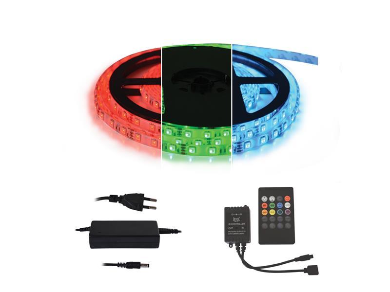 TIPA LED pásek typ 12V 5050 60LED/m IP65 RGB, sada s 12V adaptérem a music ovladačem, zalitý