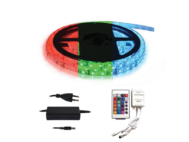 TIPA LED pásek typ 12V 5050 60LED/m IP20 max. 12W/m RGB, sada s 12V adaptérem a dálk. ovladačem