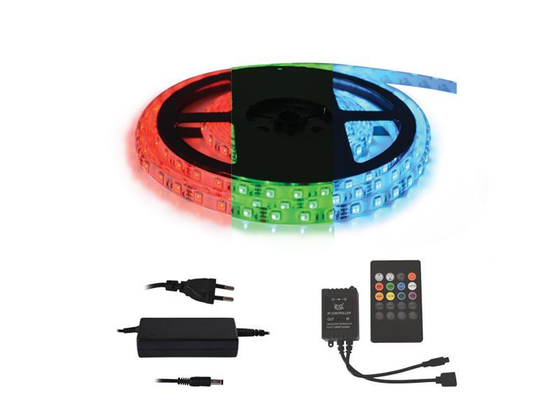 TIPA LED pásek typ 12V 5050 60LED/m IP20 max. 12W/m RGB, sada s 12V adaptérem a music ovladačem