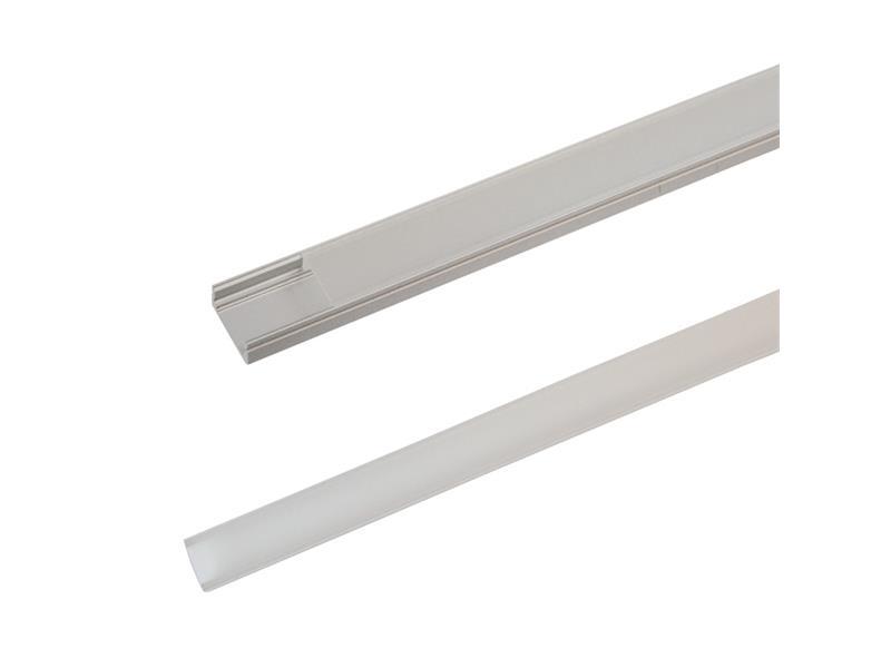 AL profil pro LED, AS1 + plexi k přisazení 17,1x8,6mm l=1m (zacvakávací/zasunovací)