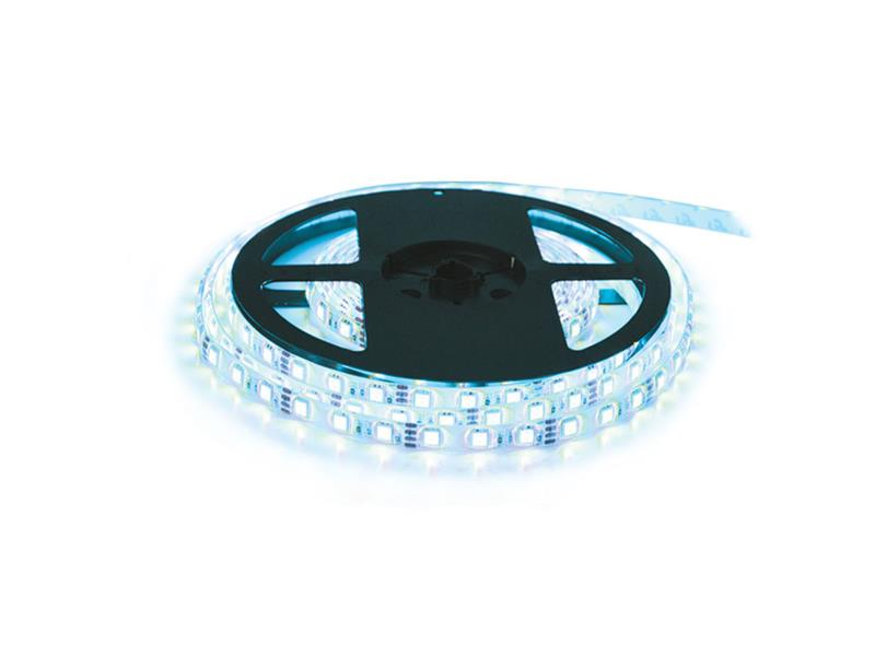 LED pásek 12V 5050  60LED/m IP65 max. 14.4W/m bílá studená - ice blue (cívka 5m)