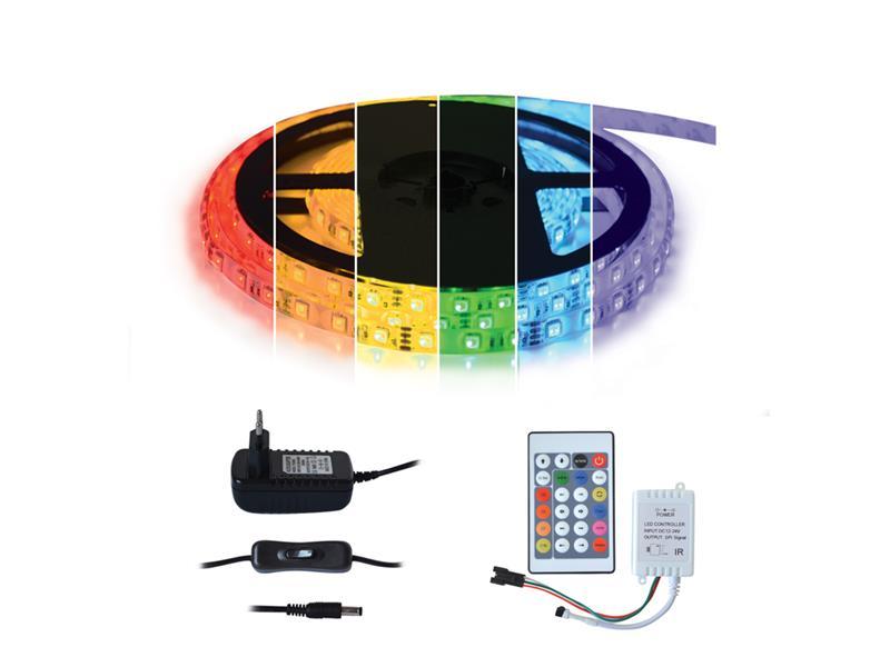 LED pásek 5050 30LED/m IP20 max. 7.2W/m Digitální RGB, sada 3m, 12V adaptér a dálkový ovladač