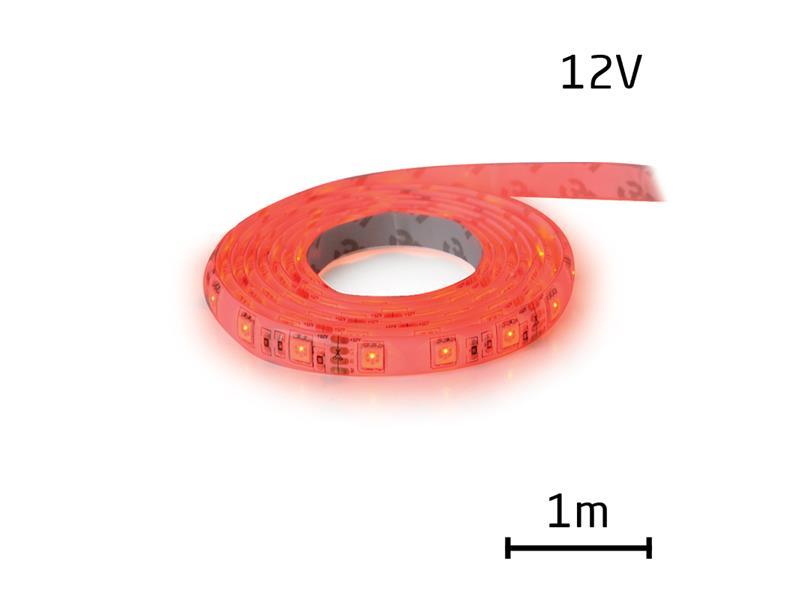 LED pásek 12V 3528  60LED/m IP65 max. 4.8W/m červená (cívka 1m) zalitý