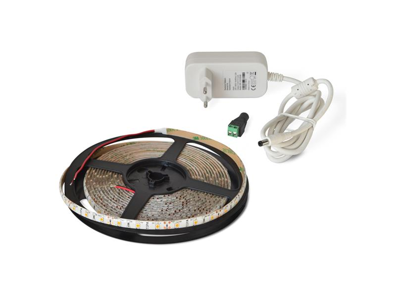 LED pásek sada 5m 12V 3528 60LED/m IP65 4.8W/m bílá studená + zdroj