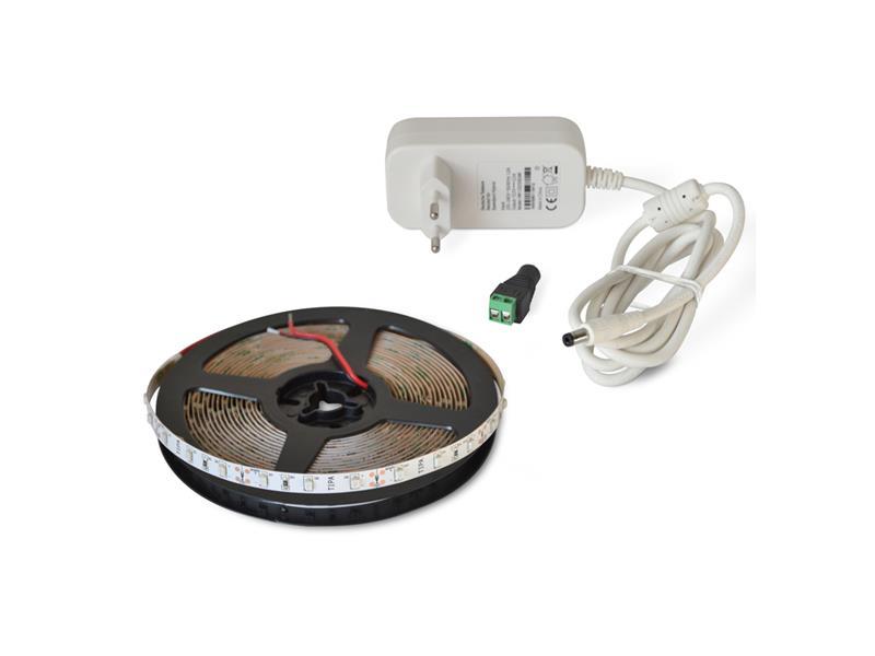 LED pásek sada 5m 12V 3528 60LED/m IP20 4.8W/m červená + zdroj