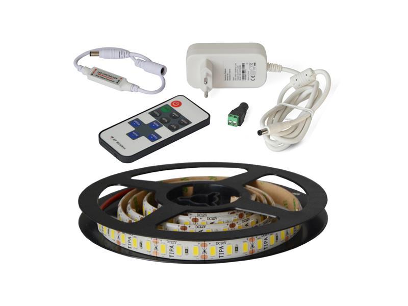 LED pásek sada 1m 12V 5630 120LED/m IP65 max. 24W/m bílá přírodní + RF kontrolér + zdroj