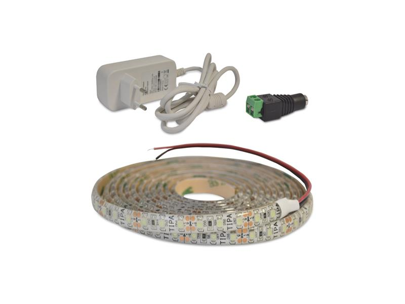 LED pásek sada 2,5m 12V 3528 120LED/m IP65 9.6W/m ice blue + zdroj