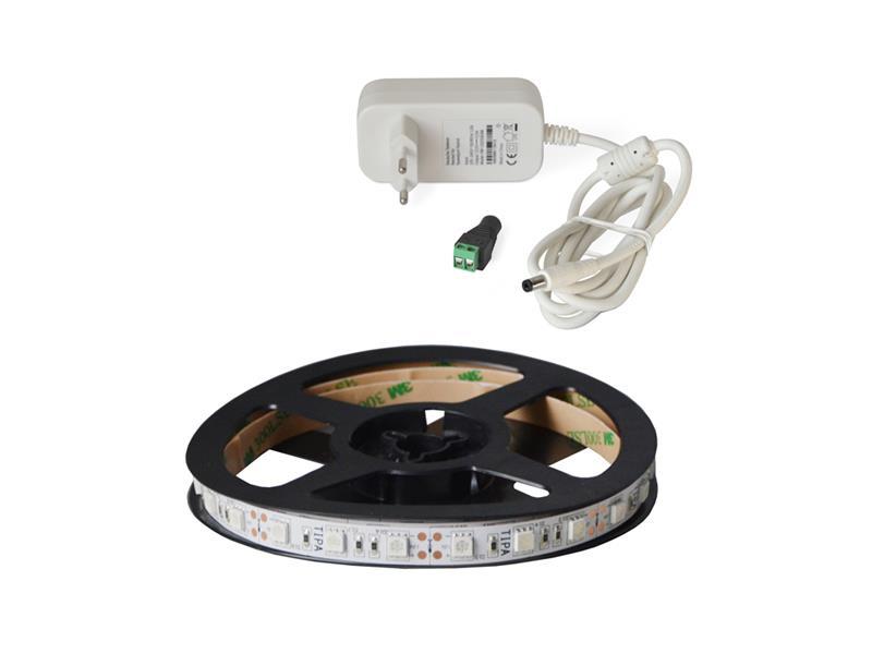 LED pásek sada 1m 12V 5050 60LED/m IP20 14.4W/m ultrafialový + zdroj