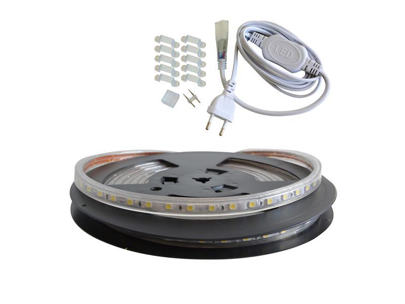 LED pásek sada 5m 230V 5050 60LED/m IP67 14,4W/m bílá studená + příslušenství