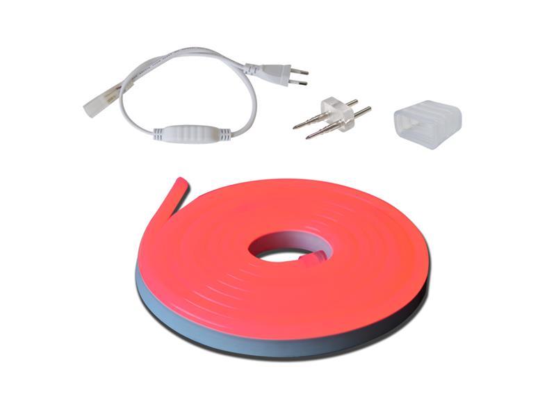 LED neon flexi hadice 230V, 2835, 120LED/m IP67 12W/m 3m červená+příslušenství