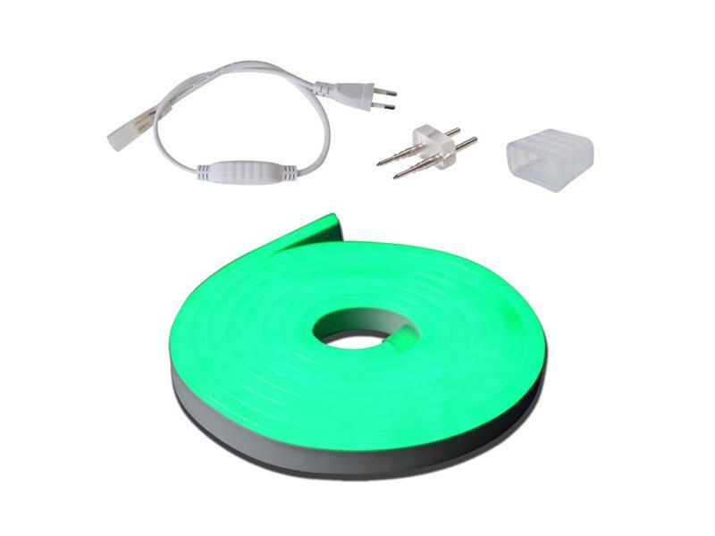 LED neon flexi sada 3m neon hadice 230V, 2835, 120LED/m IP67 12W/m zelená+příslušenství