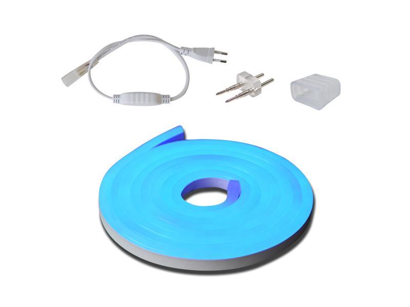 LED neon flexi hadice 230V, 2835, 120LED/m IP67 12W/m 3m modrá+příslušenství
