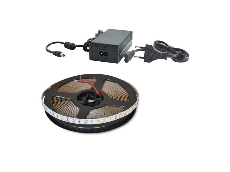 LED pásek sada 5m 12V 3528 120LED/m IP20 9.6W/m bílá teplá extra + zdroj