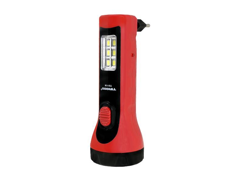 Svítilna ruční TIROSS TS-1138, 5+6 LED, 500 mAh nabíjecí červená