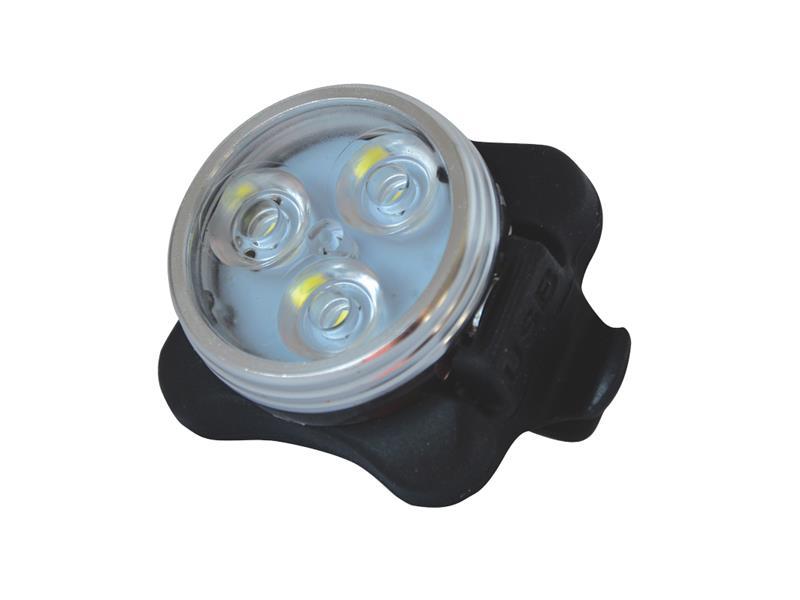 Svítilna na kolo přední, 3 LED, s USB, bílá