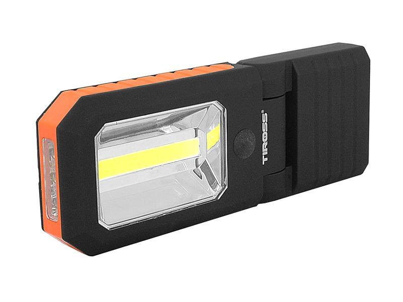 Svítilna ruční TIROSS TS-1833 4 LED+COB, 3x AAA ORANGE s magnetem