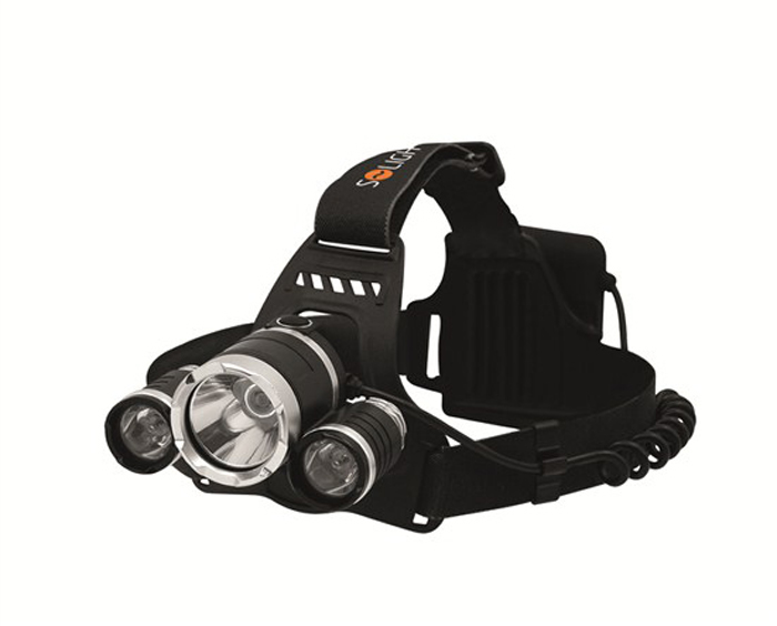 Svítilna  čelovka LED SUPER POWER, 900lm, 3x Cree LED, 4x AA