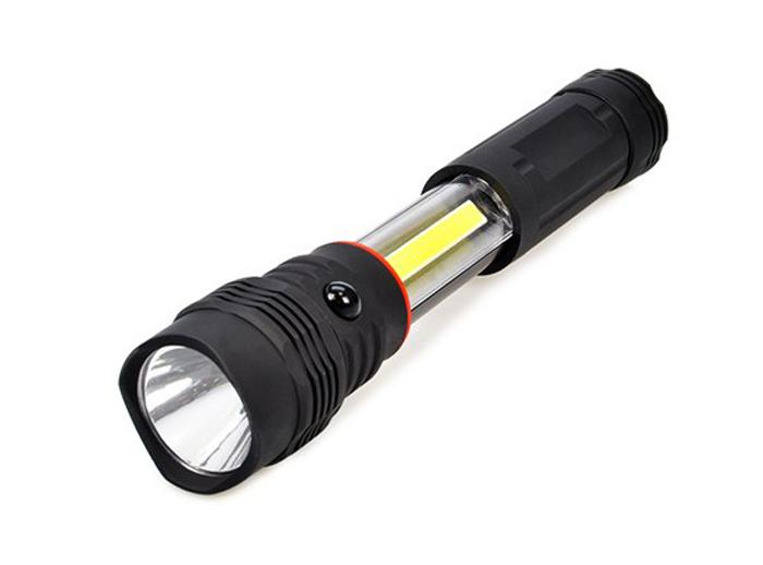 Svítilna LED vysouvací, 3W COB + 1W, černá, 3x AAA