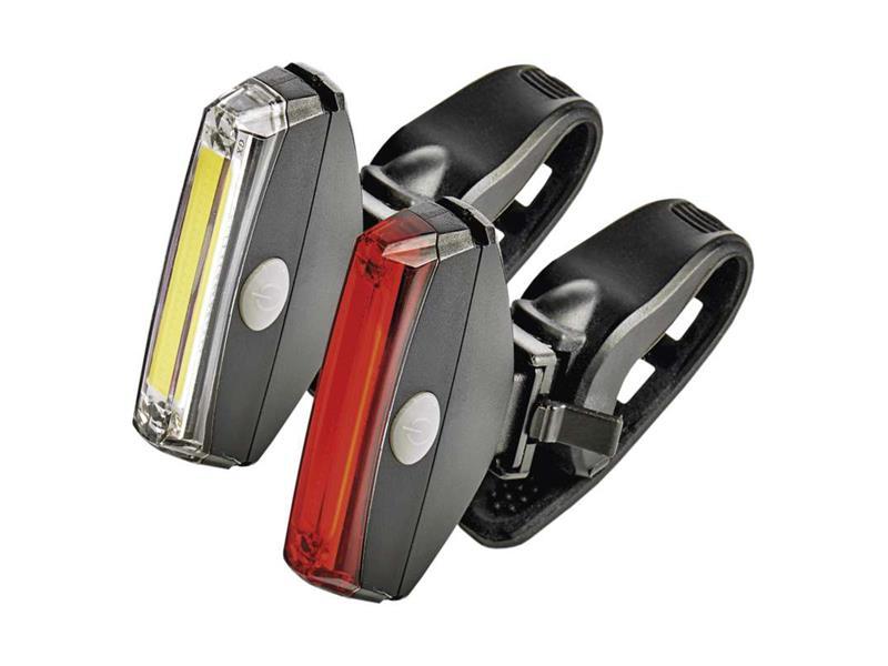 Svítilna na kolo LED COB, SET přední + zadní
