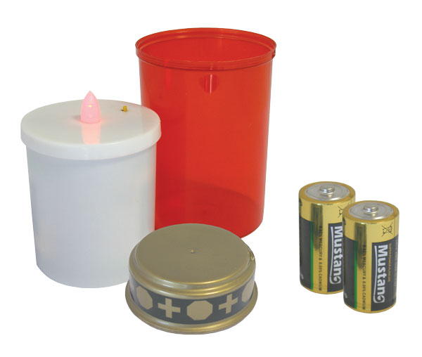 LED hřbitovní svíčka + Alk. baterie R14 ZDARMA