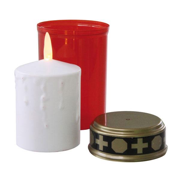 Svítidlo LED svíčka hřbitovní červená P4601