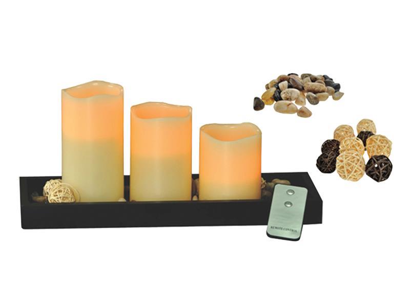 Solight sada LED voskových svíček, přírodní barva, dálkové ovládání WS08
