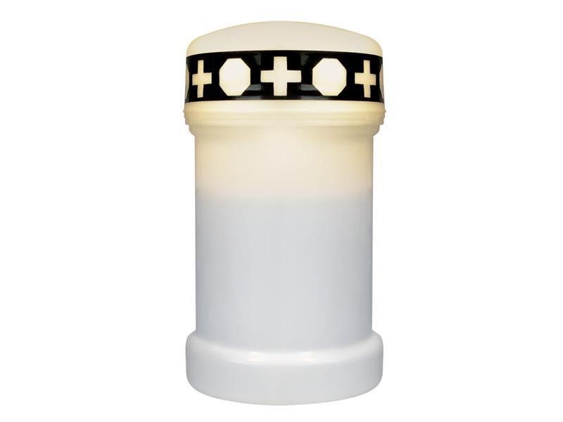 LED hřbitovní svíčka bílá + baterie ZDARMA