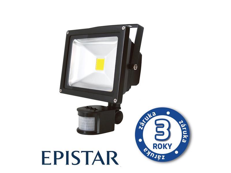LED reflektor venkovní s PIR 10W/800lm EPISTAR, MCOB, AC 230V, STUDENÁ, černý