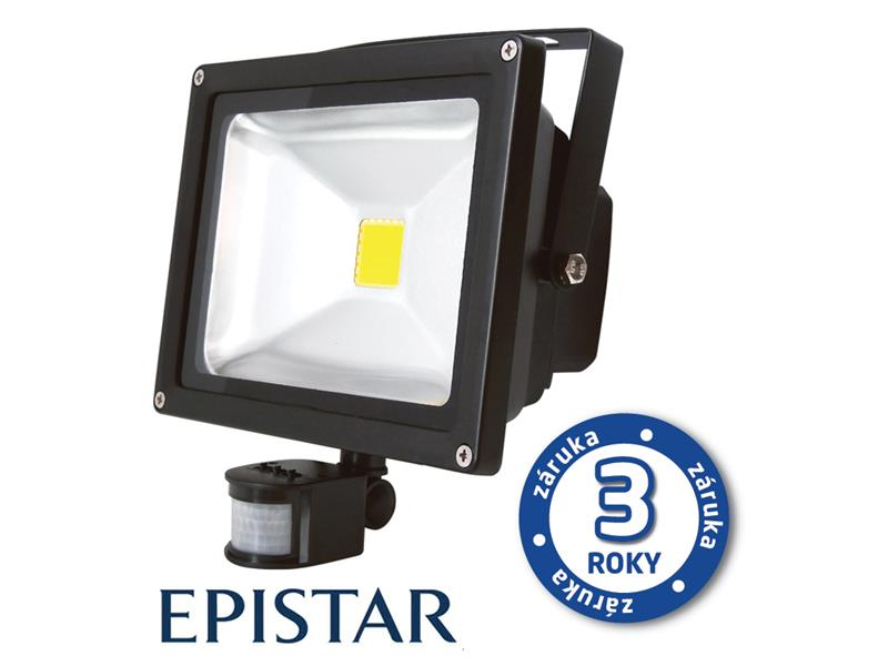 LED venkovní reflektor s PIR 30W, 2500lm, 6000K, černý