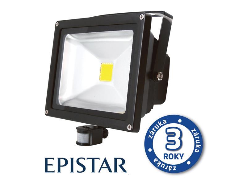 LED reflektor venkovní s PIR 50W/4000lm EPISTAR, MCOB, AC 230V, STUDENÁ, černý