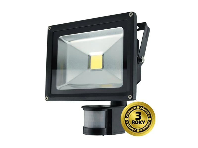 LED venkovní reflektor, 20W, 1400lm, AC 230V, černá, se senzorem SOLIGHT WM-20WS-E