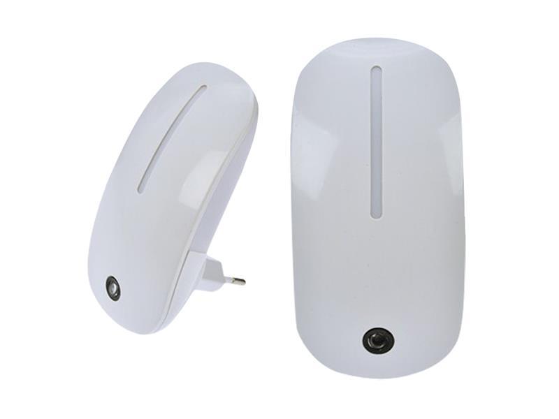 Noční LED světélko se světelným senzorem, 1W, plug-in, bílé SOLIGHT WL901