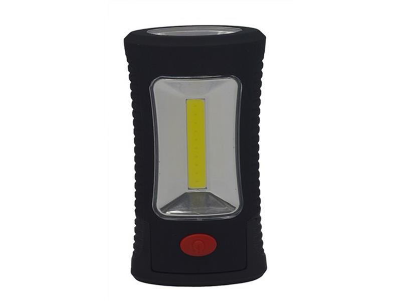 Svítilna LED pracovní, 3W COB + 3 SMD LED, hák + magnet, 3 x AAA