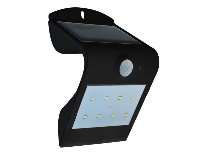 V-Tac LED solární svítidlo s čidlem, 1,5W, IP65, černá
