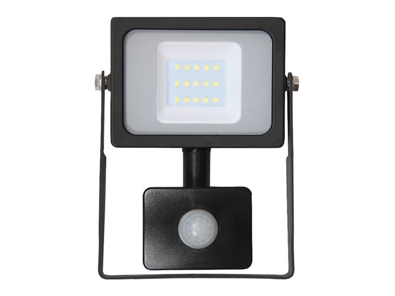 V-Tac LED reflektor venkovní SLIM s PIR 10W/800lm, SMD, 6400K, černý