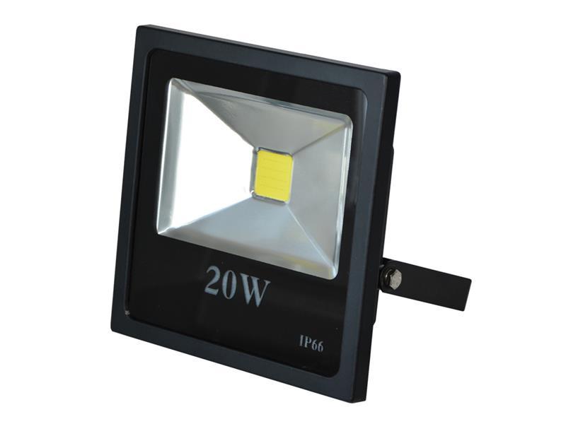 LED reflektor venkovní  20W/1800lm, MCOB, AC 230V, STUDENÁ, černý