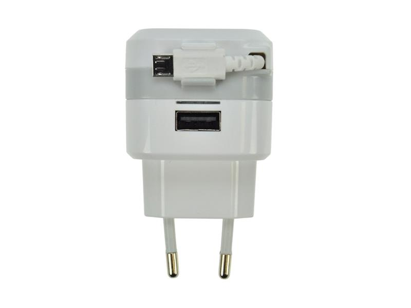 USB nabíjecí adaptér, navíjecí kabel micro USB + 1x USB, 2400mA max., AC 230V, bílošedý SOLIGHT DC39