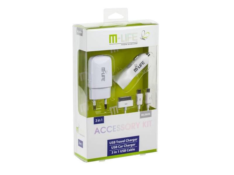 USB nabíjecí sada M-LIFE 3v1 (iPhone, microUSB, miniUSB)