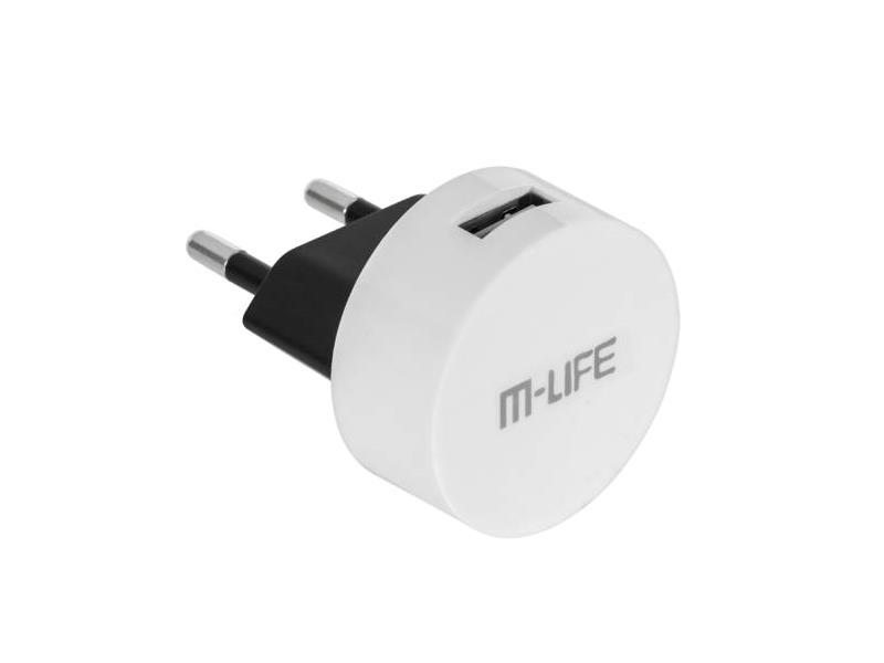 Adaptér  USB nabíjecí adaptér, 1x USB, 1000mA kulatý bílý