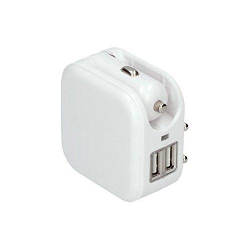 Adaptér SOLIGHT DC42 auto+zásuvka, 2x USB, max. 2400mA, AC 230V / DC 12V, bílý