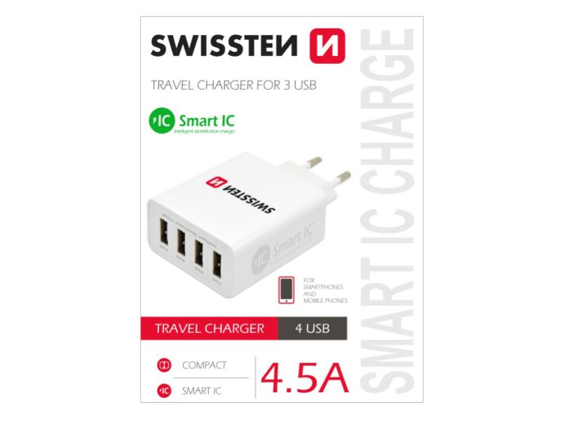 Adaptér síťový SWISSTEN SMART IC 4x USB 4,5A POWER BÍLÝ